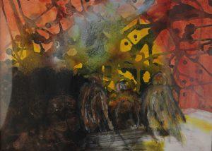 39x29 Naturens stemninger, akryl og kul på lærred